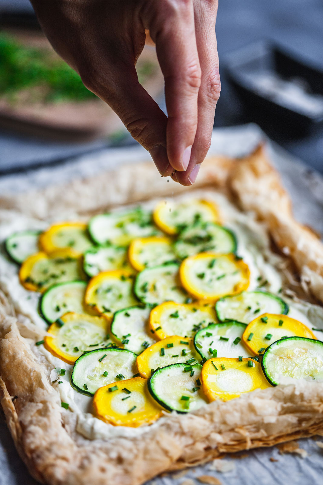Zucchini Tart With Whipped Feta and Chives