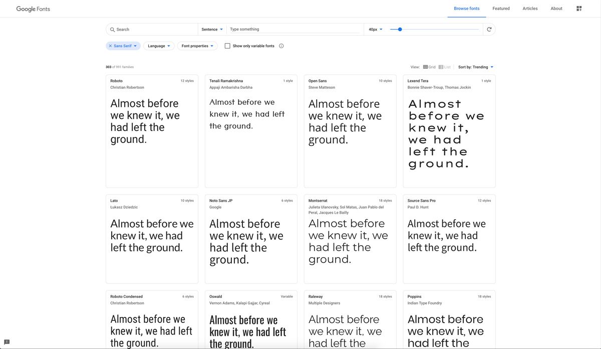 Font serif via Google