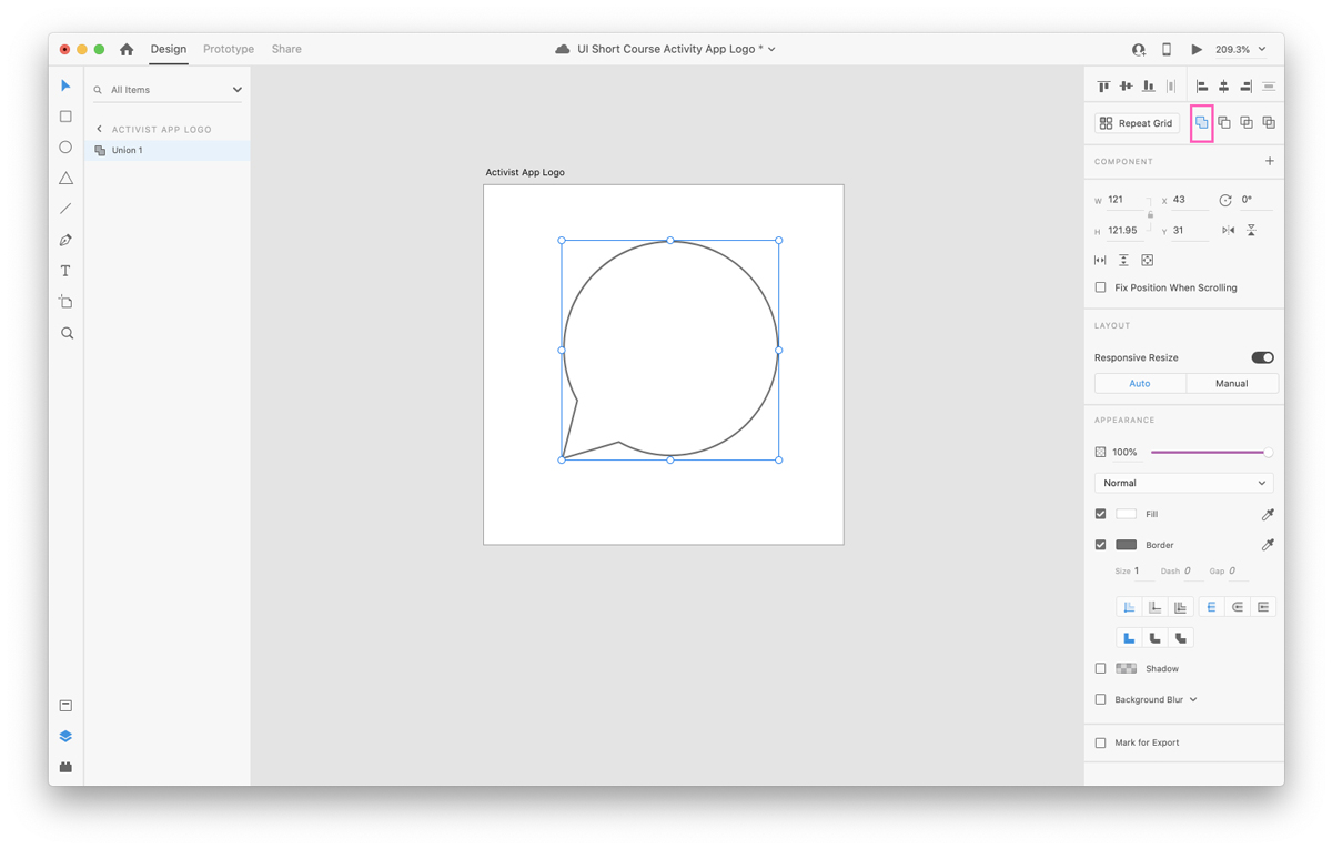 Uniting two shapes in Adobe XD