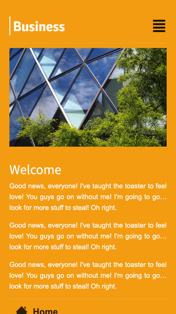 Screenshot of Orange Business Mobi mobile website template