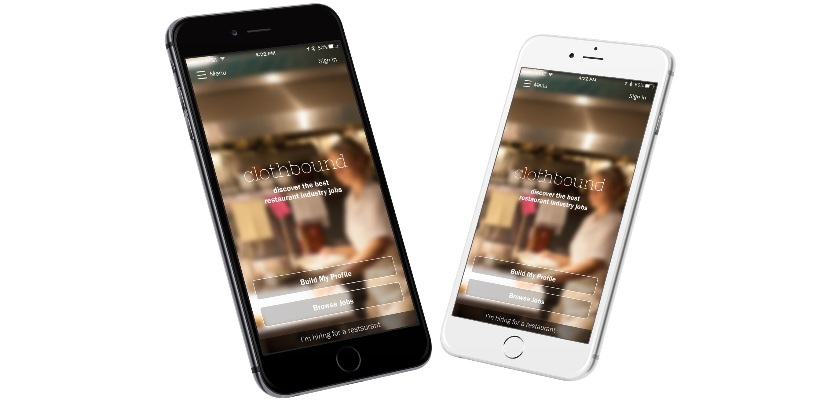 Clothbound app on two iPhones