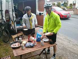 Mike and Tim at our own road-side chef!