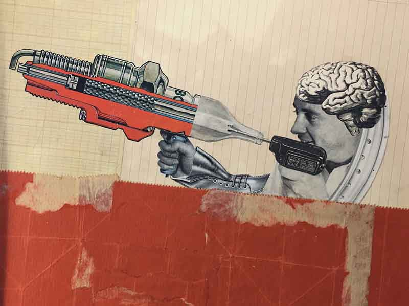 Man with a human brain on his head holding a large sparkplug like a rifle with parts of it cut away to see the insides. Background is made from stained graph paper. The bottom half of the collage is large piece from a red paper bag.