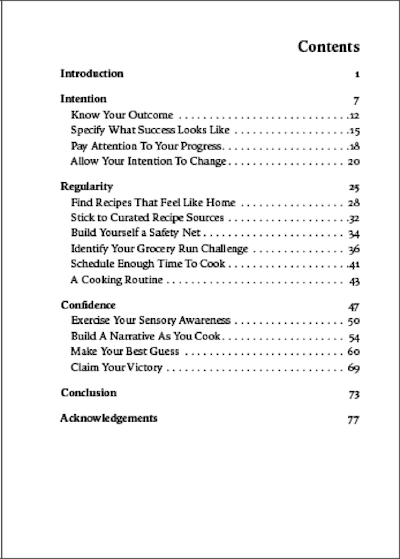 Table of content for the book, Nourishing Practice.