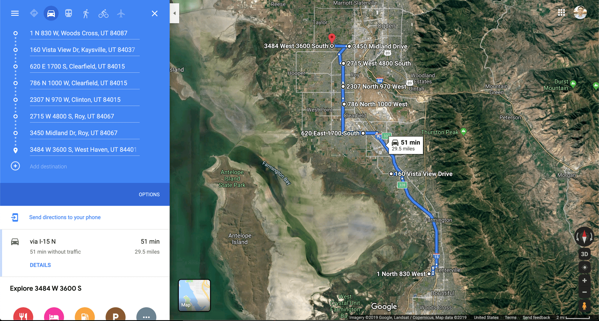 Our marathon route starting near Centerville, UT and ending in Roy, UT.