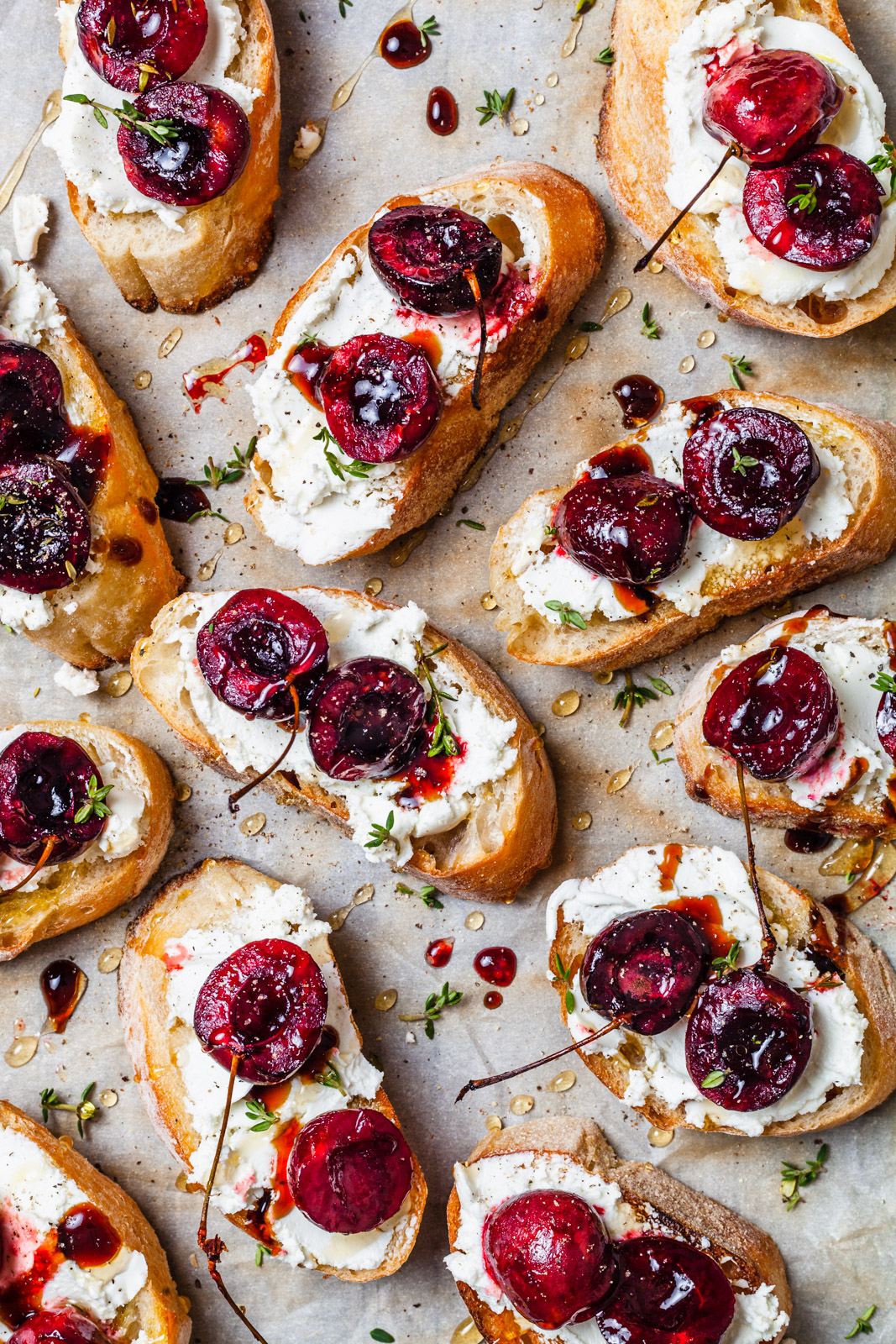 Balsamic Roasted Cherry and Goat Cheese Crostini