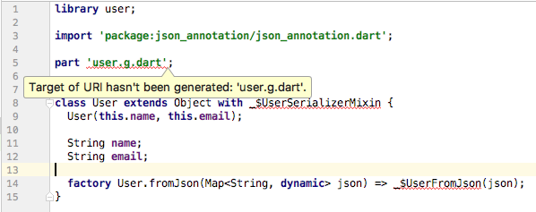 IDE warning when the generated code for a model class does not exist yet.
