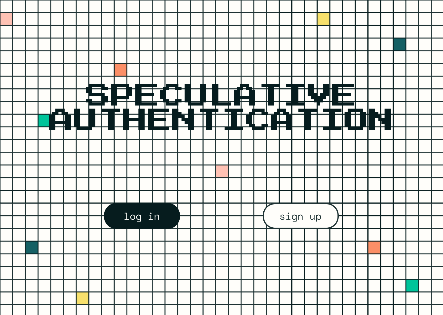 Screenshot of the homepage for speculative authentication project, a grid of small white squares with black outlines, a handful of filled in squares in a rainbow of colors and a log in and sign up button