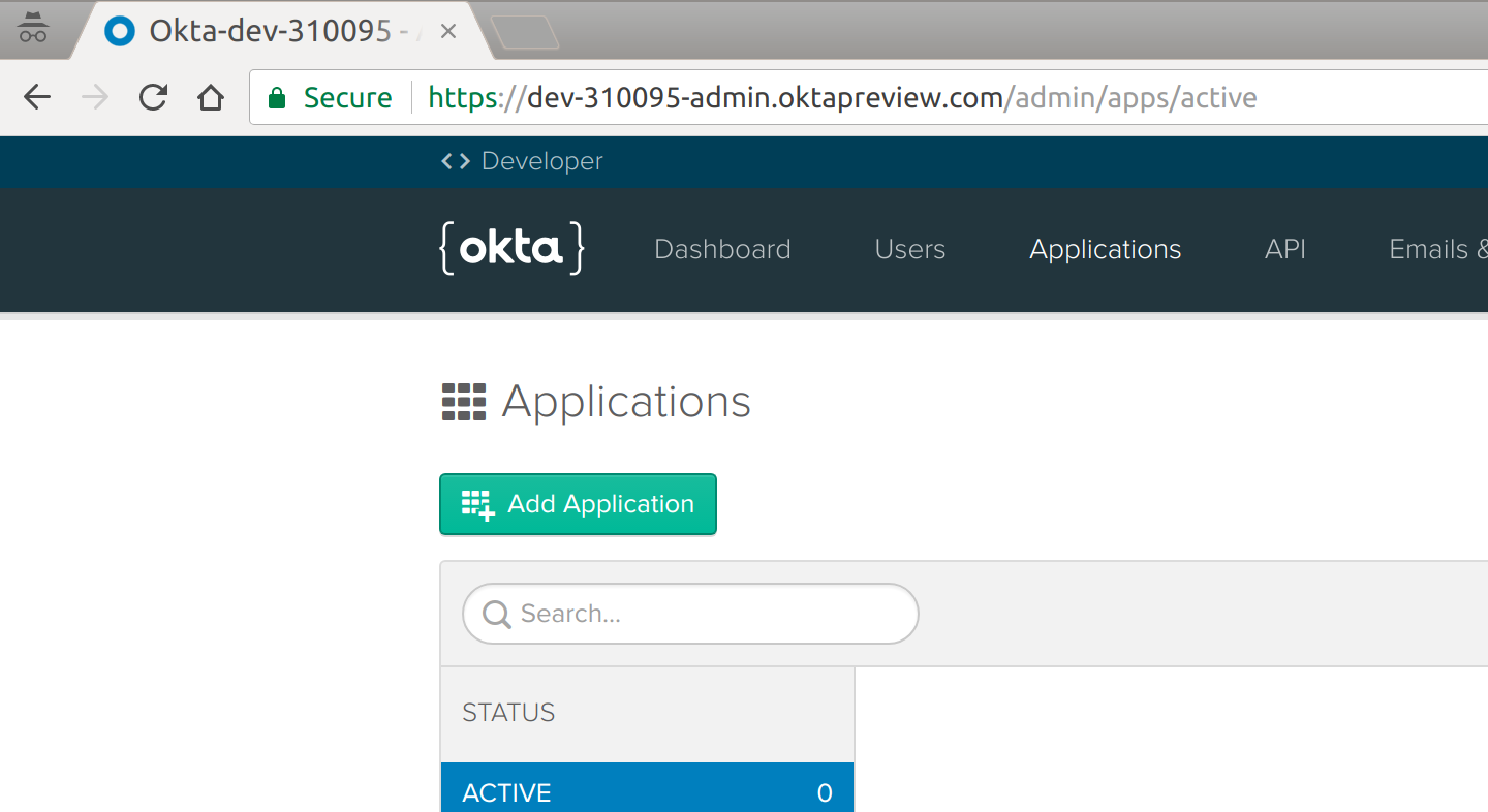 Okta Application Dashboard
