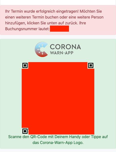 Screenshot des QR-Codes für die CWA auf der Buchungsbestätigungs-Seite