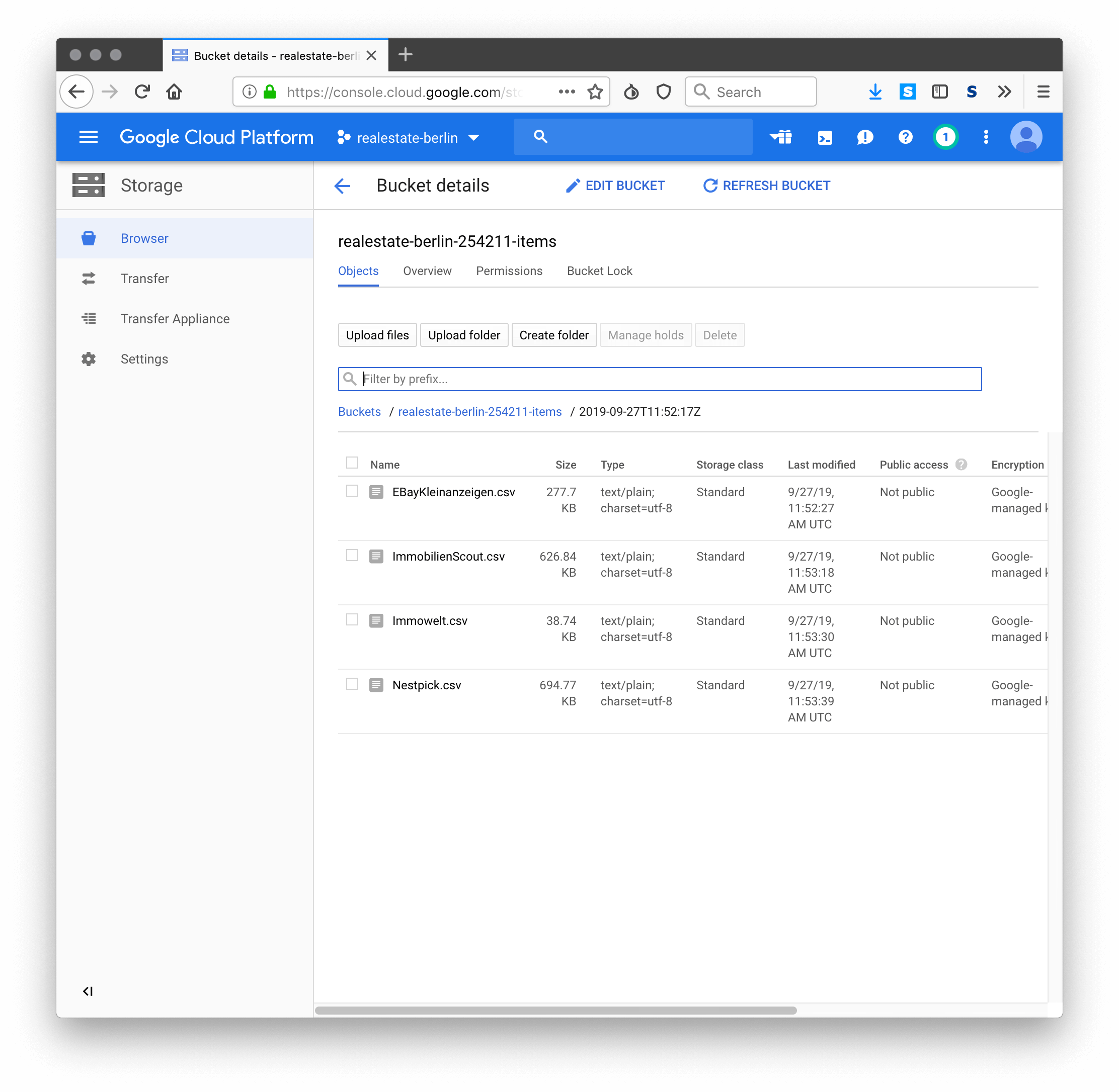 Google Cloud bucket with newly created csv files