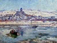 During the years 1876-83, Monet moved from Argenteuil to Vetheuil and then to Poissy. Despite his nomadic lifestyle and other problems he managed to produce a number of striking landscapes.