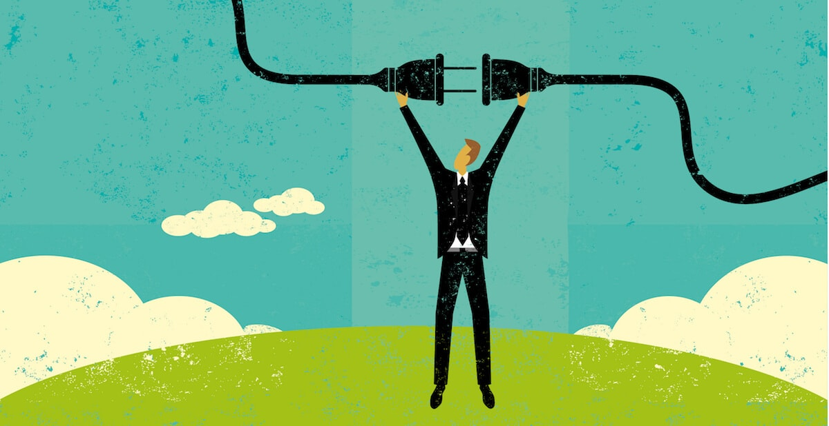 Illustration of a businessman standing on a hill plugging in a giant black plug above his head
