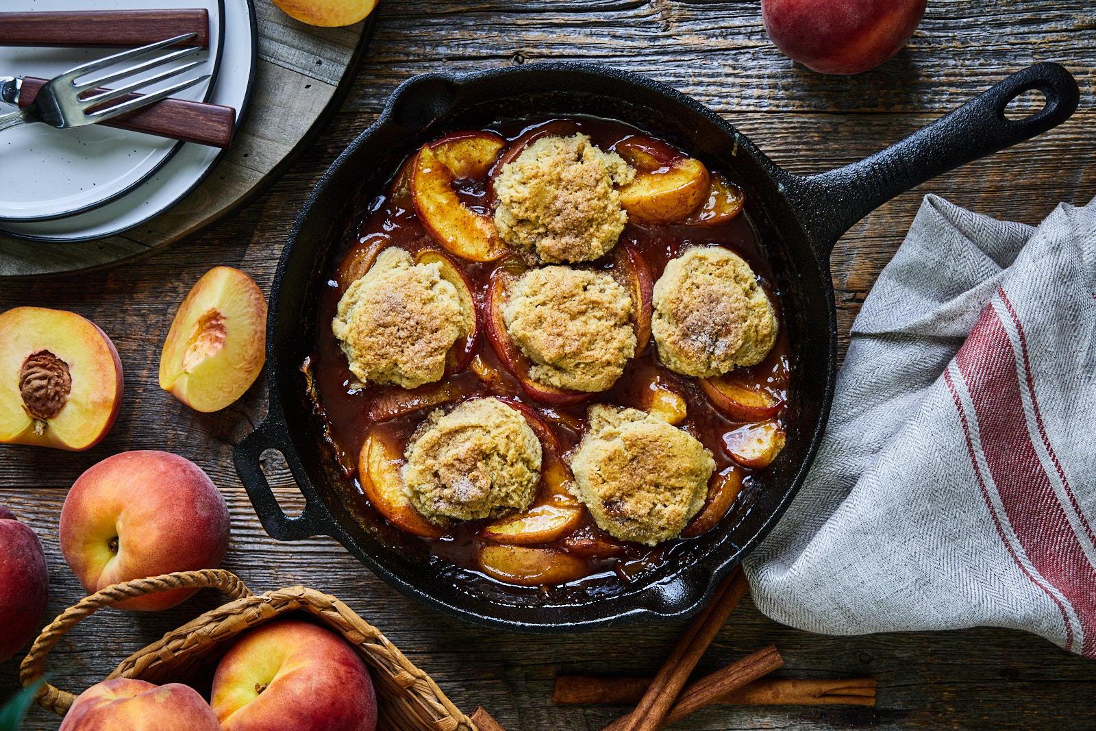 Grilled skillet peach cobbler with almond flour biscuit topping