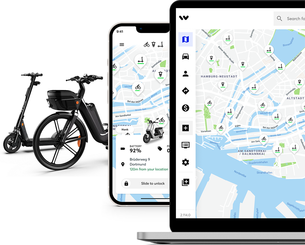 Two devices showing Wunder Mobility software and two electric vehicles, scooter and bicycle.