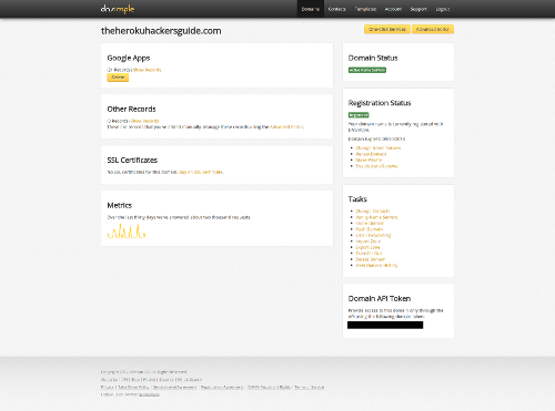DNSimple Domain Page