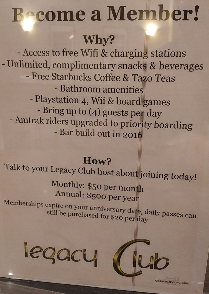 Chicago Union Station Amtrak Legacy Club pricing sheet