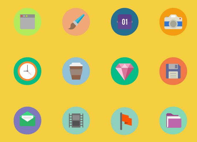 Vários ícons coloridos
