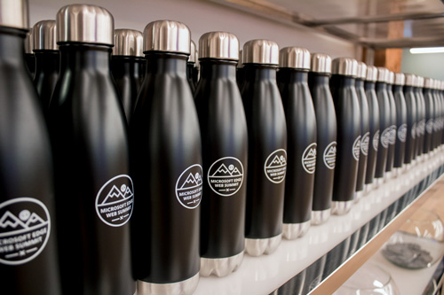 Waterbottles with the logo applied