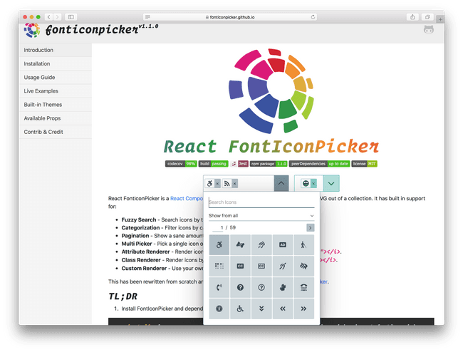 React FontIconPicker