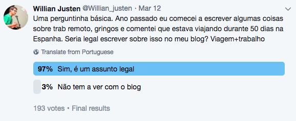 Enquete no twitter: 97% apoia o post 3% não