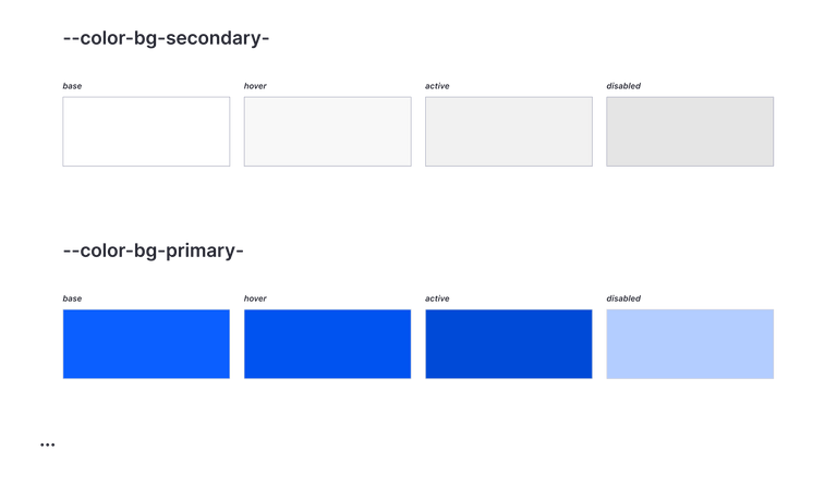 Two rows of background-color swatches: secondary and primary