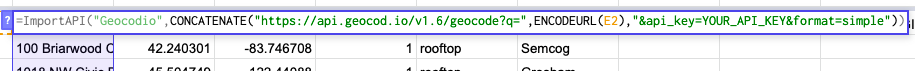 "Showing function in a cell: =ImportAPI(""Geocodio"",CONCATENATE(""https://api.geocod.io/v1.6/geocode?q="",ENCODEURL(E2),""&api_key=YOUR_API_KEY&format=simple""))"
