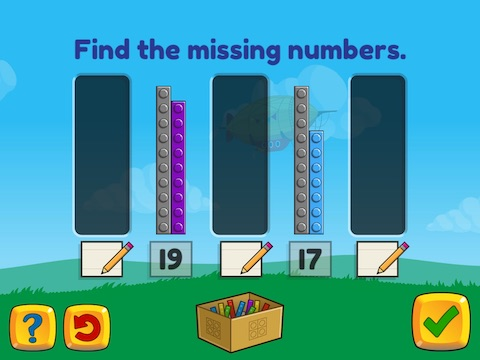 Stairsteps: Complete the pattern by adding or subtracting by 1's and 2's, within 20 Math Game