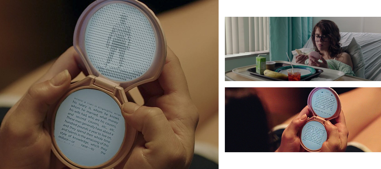 Screenshots from the film It Follows showing a character using a phone or e-reader shaped like a seashell