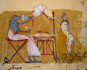 Figure 4: First part of a mural replica from the tomb of Sobekhotep, by Alaa Awad, Mohamed Mahmoud Street, Cairo. Photograph by Soraya Morayef (March 2012)