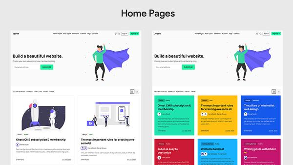 Joben Ghost Theme Home Pages