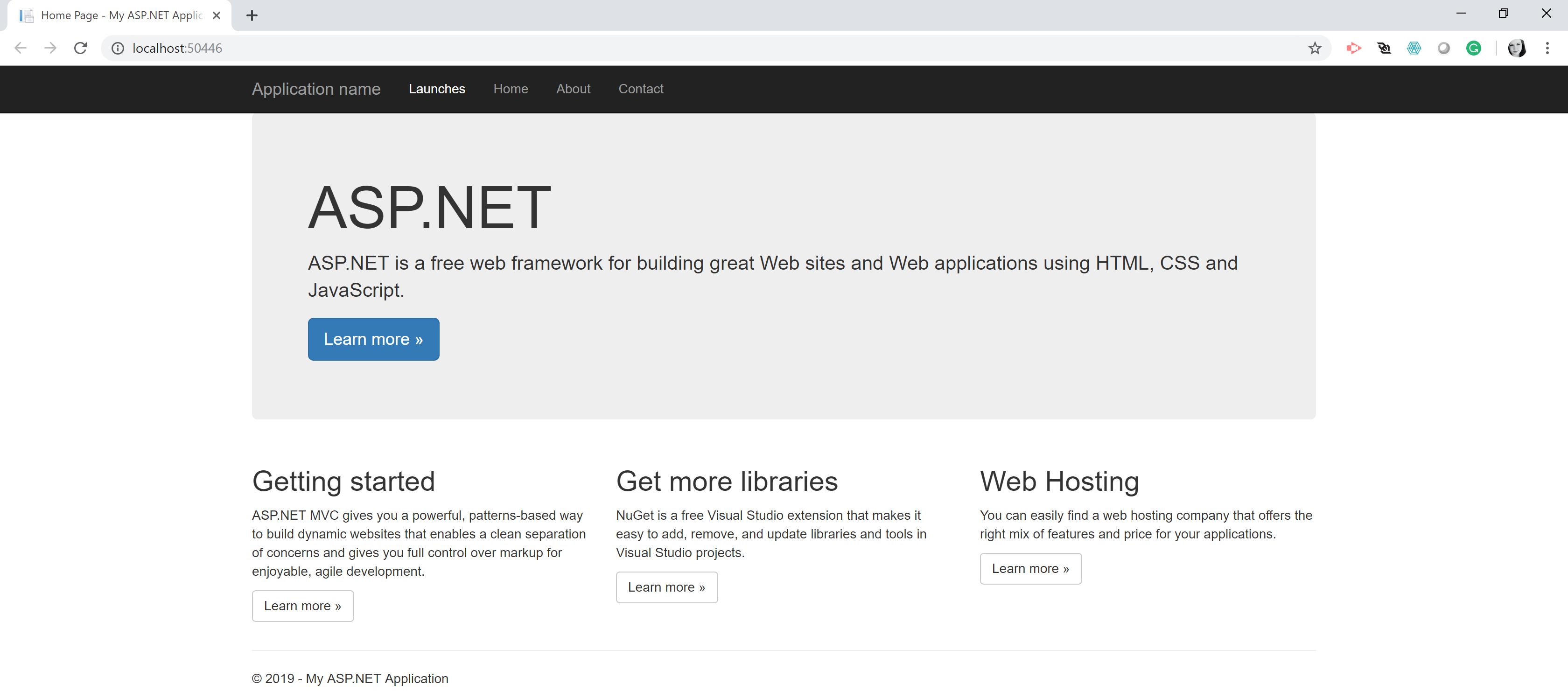 ASP.NET site default page