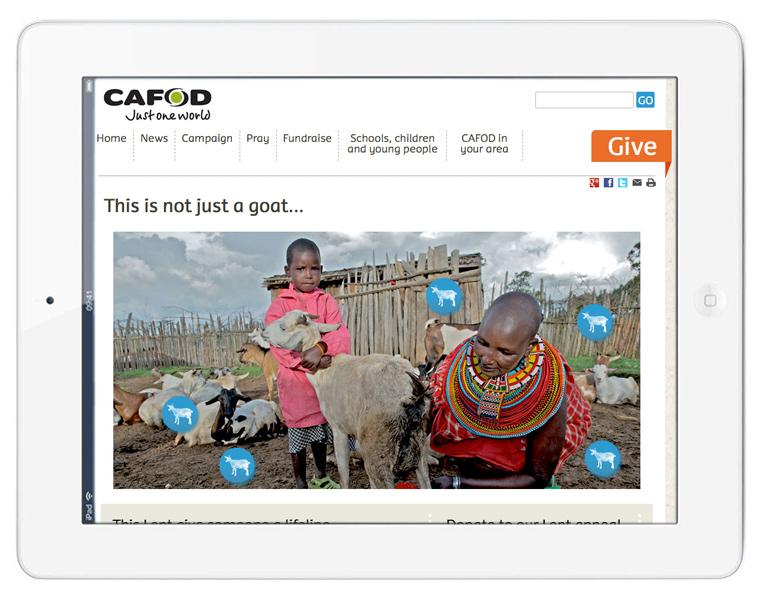 Screenshot of Cafod Lent Appeal 2013
