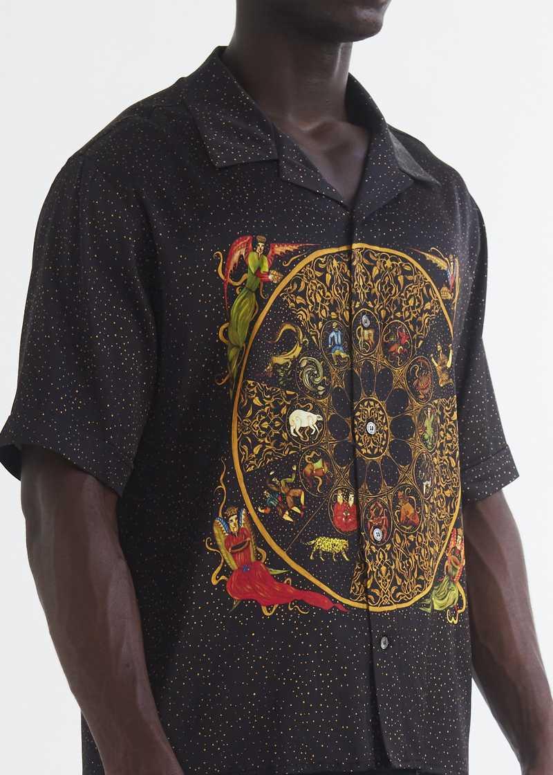 Luka bowling Shirt with zodiac print detail