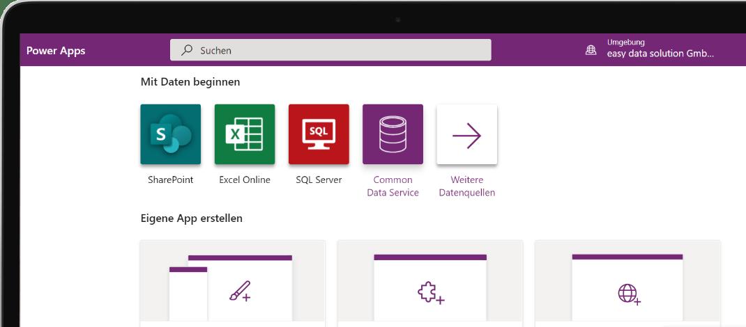 Bildschirm mit Übung aus unserem Power Apps Kurs
