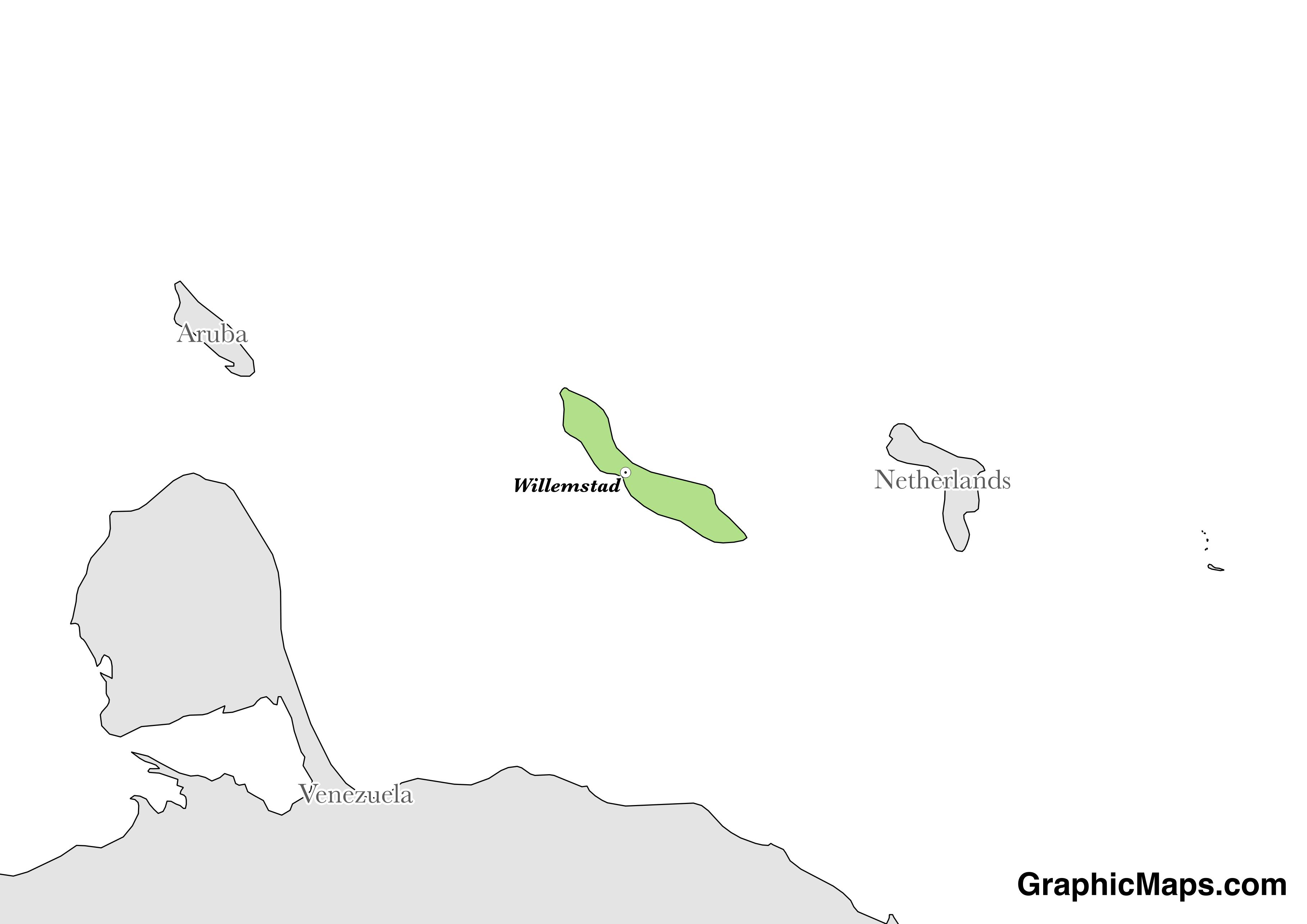 Map showing the location of Curacao