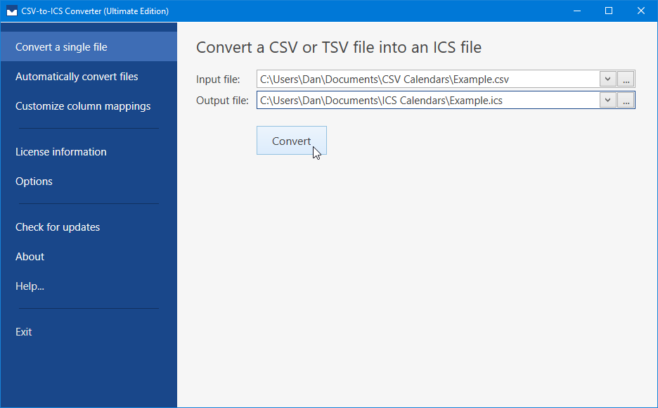 The 'Convert a single file' tab is where an input CSV file and output ICS file can be specified. Click the Convert button to perform the file conversion.