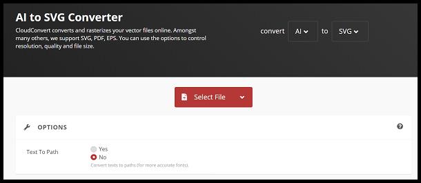 Click Select File and choose AI file