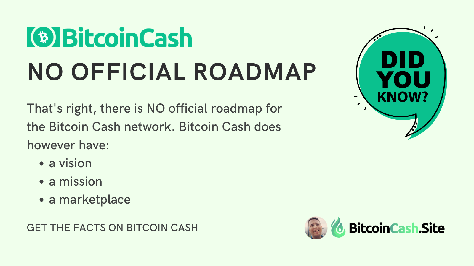 There is no official Bitcoin Cash roadmap