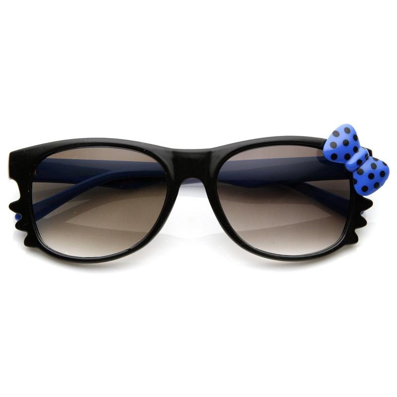 Hello Kitty Black Double Blue Polka Dot Bow Sunglasses