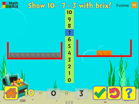 Basic subtraction within 10 using brix (scales) Math Game