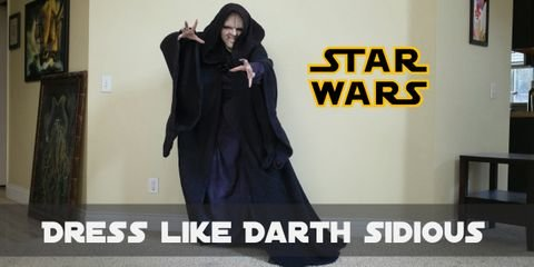 Cosplaying Darth Sidious would be pretty straightforward. This character is famous of his aged pale face. When it comes to clothes, a long loose cloak is the main piece.