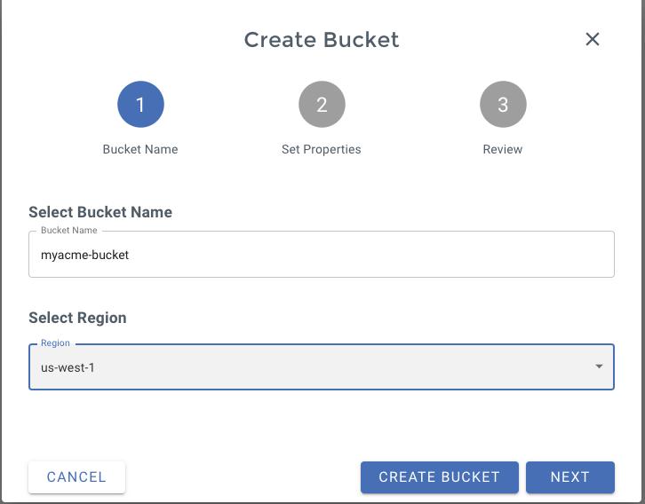 Wasabi Bucket creation form