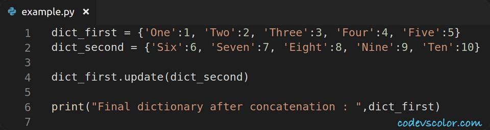 python concatenate two dictionaries