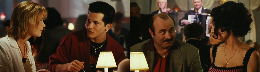 A shot from the Super Mario Bros. movie. This image shows (left, to right): Daisy, Luigi, Mario,Daniela; and that neither Daisy nor Luigi bothered to dress up for their date