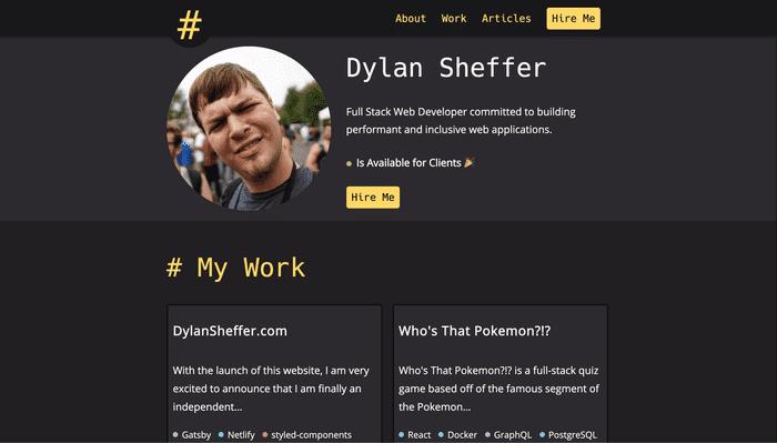 screenshot of dylansheffer.com.