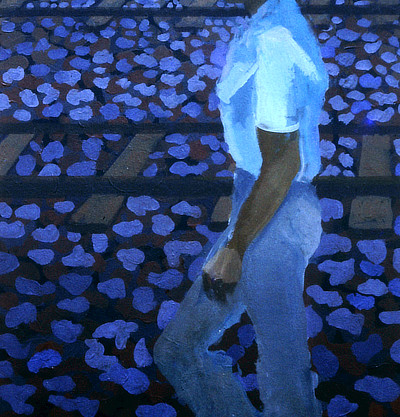 blue toned painting of a figure walking beside railway tracks