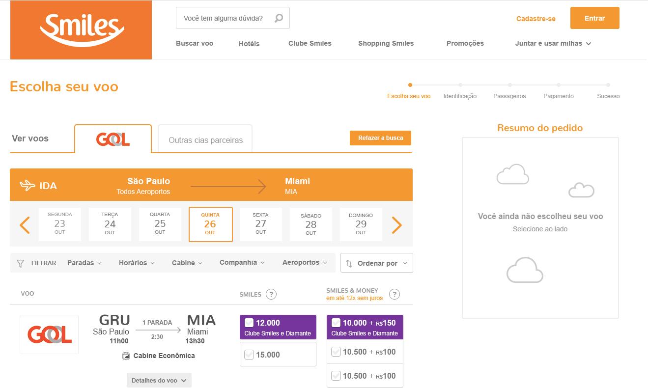 Imagem do layout para o resultado de busca de voos