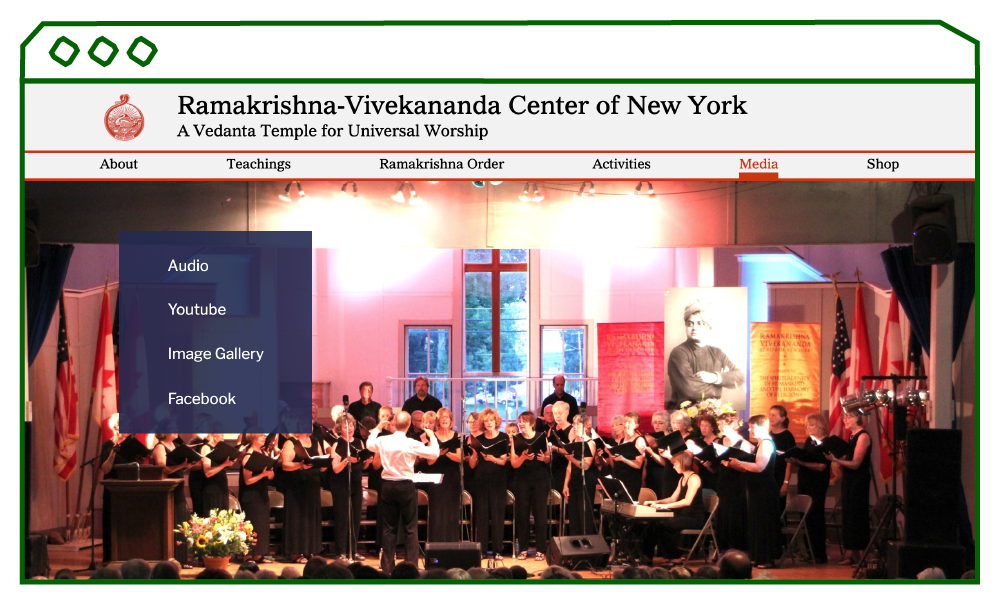 desktop display of media hub page with a large image of a concert performance.