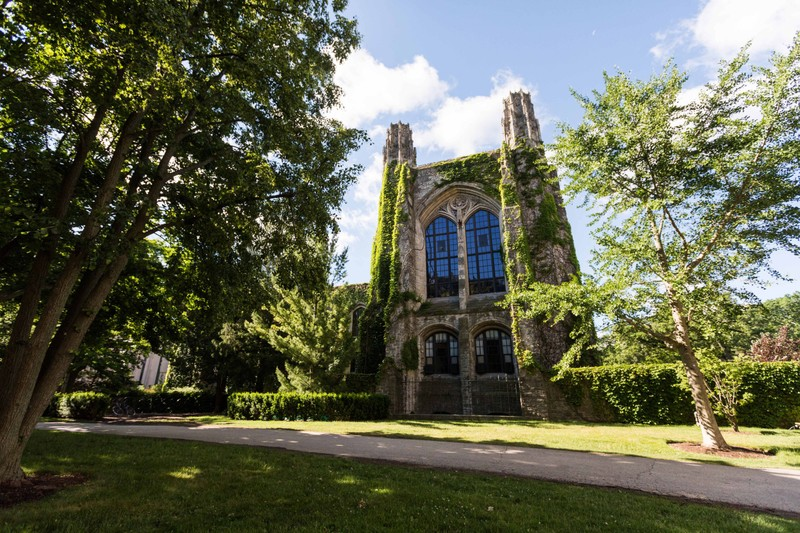 Gothic architecture at Northwestern University with ivy growing on Deering Library